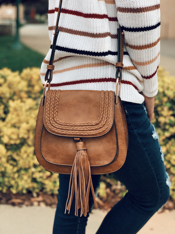 Travel Abroad Crossbody Bag in Tan