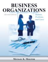BUSINESS ORGANIZATIONS: STATUTES, PROBLEMS, AND CASES, Second Edition