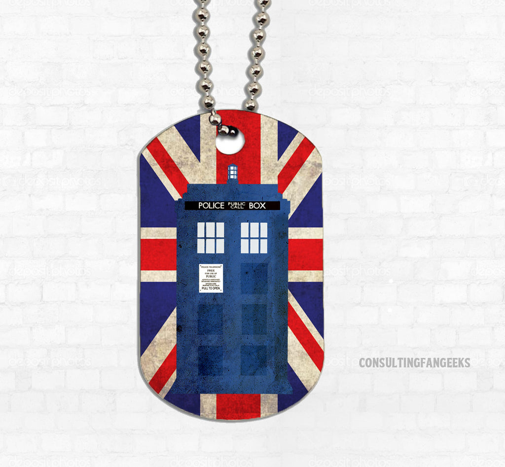 """Police Box in London"" Metal Dog Tag"