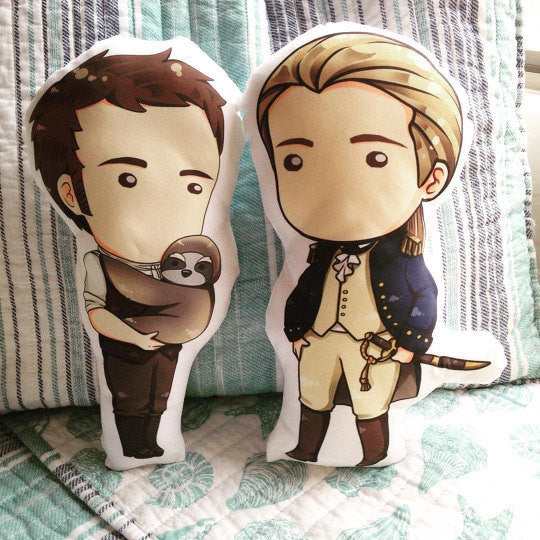 Jack Aubrey & Stephen Maturin Figure Fan pillow Set 14""