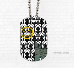 """Bored & Beware!"" Metal Dog Tag - Consulting Fangeeks"
