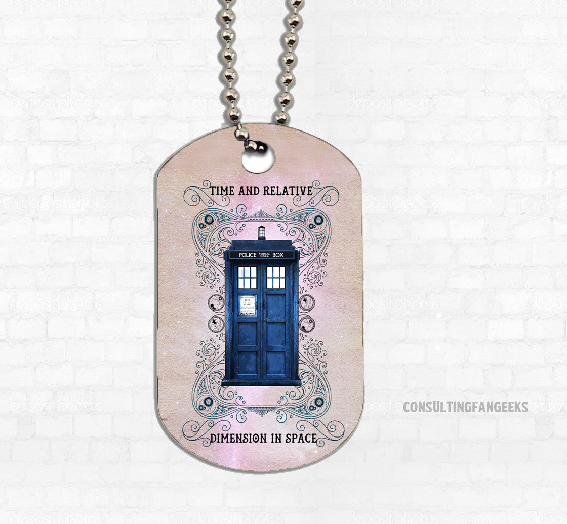 """Police Box Grunge"" Metal Dog Tag - Consulting Fangeeks"