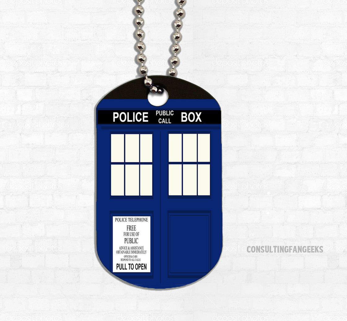 """Police Box"" Metal Dog Tag - Consulting Fangeeks"
