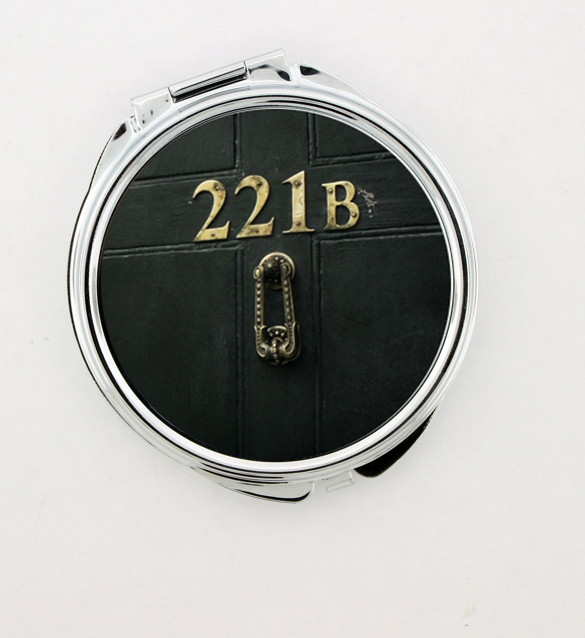 """221B Door"" Metal 2"" Foldable Hand Mirror - Consulting Fangeeks - 1"