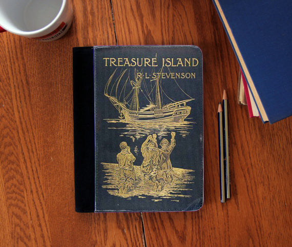 Treasure Island  Old Book Cover Stevenson  canvas Notebook 3 Sizes! - Consulting Fangeeks - 1