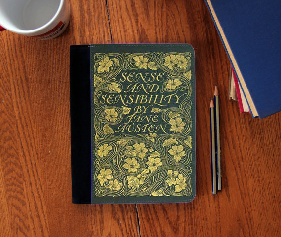 Sense & Sensibility Book Cover   Faux Suede Notebook 3 Sizes!