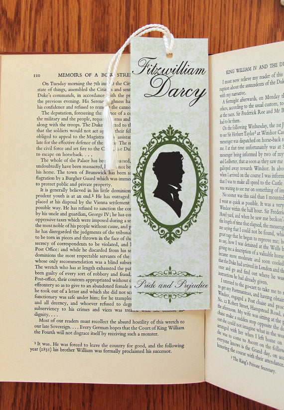 Fitzwilliam Darcy & Elizabeth Bennet double sided Felt Bookmark