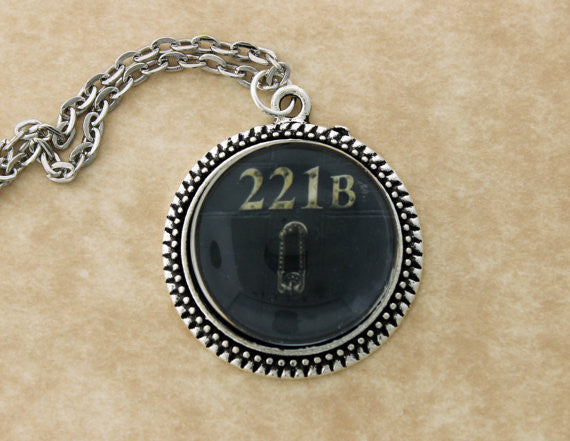 """221B"" Door Metal Pendant Necklace"
