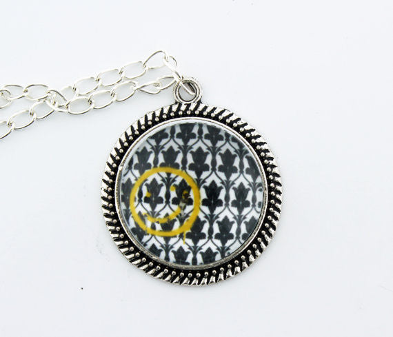 Bored! Smiley Metal Pendant Necklace