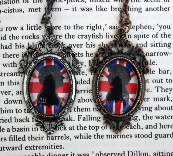 Holmes & Watson Silhouette Friendship Necklace Set - Consulting Fangeeks - 1