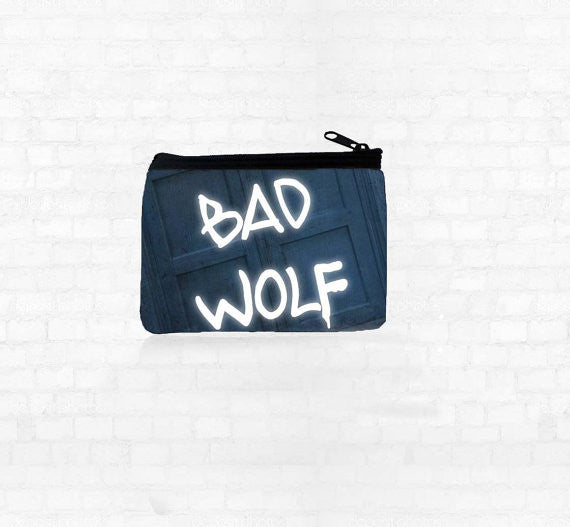 """BAD WOLF"" Neoprene Coin Purse"