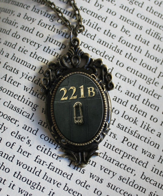 221B Baker street  , Door Metal Necklace