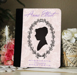 Jane Austen Persuasion Silhouette Faux Suede Notebook 3 Sizes! - Consulting Fangeeks - 1