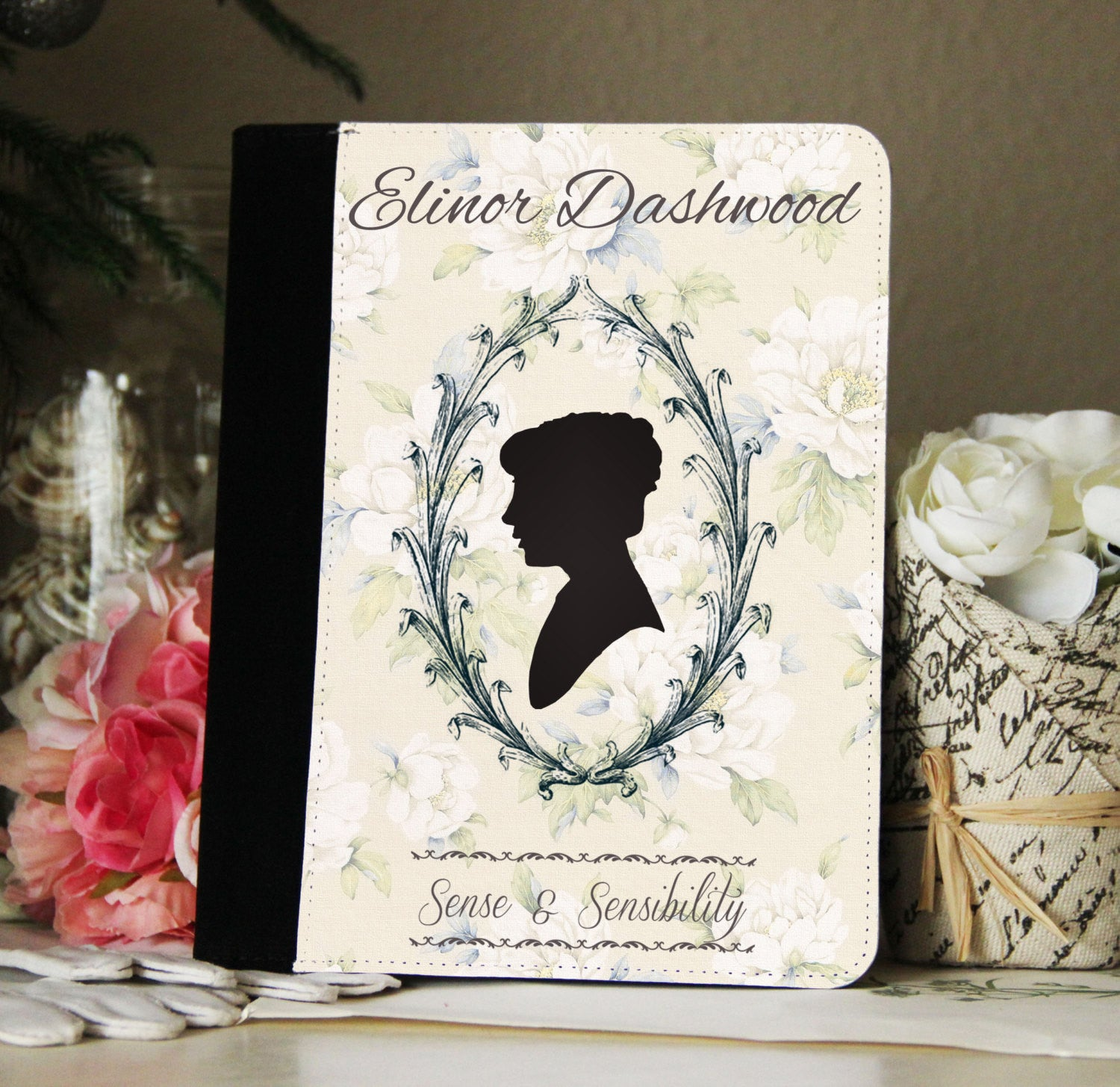 Jane Austen Sense & Sensibility Silhouette Faux Suede Notebook 3 Sizes! - Consulting Fangeeks - 1