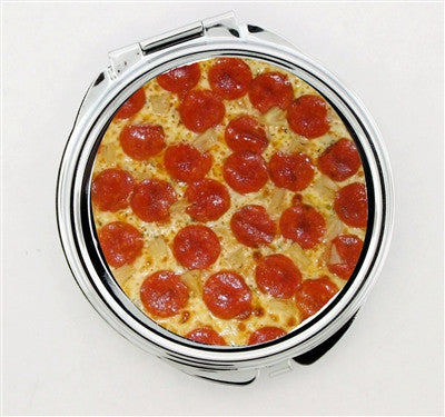 """Pepperoni Pizza"" Foldable Hand Mirror"