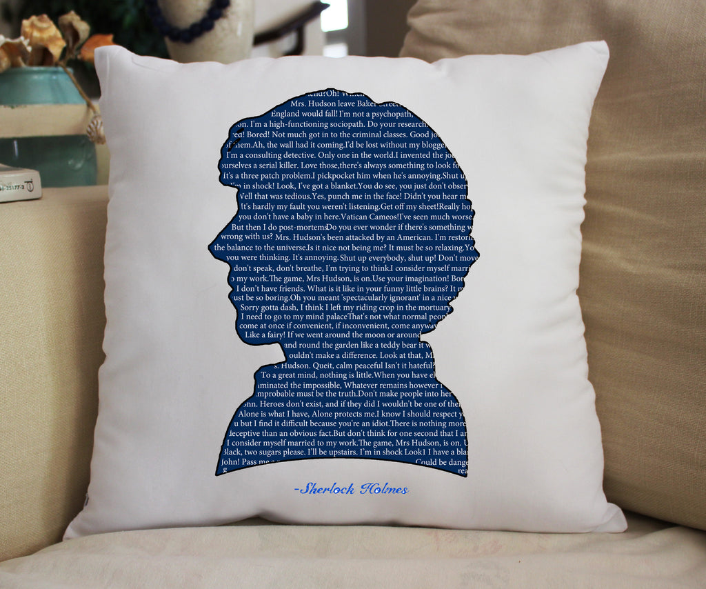 """Sherlock Quotes"" 14x14 Pillow"