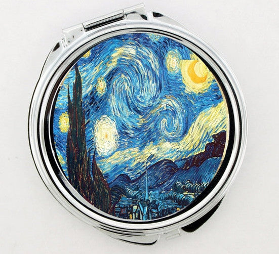 """Starry Night"" Vincent Van Gogh Foldable Hand Mirror"