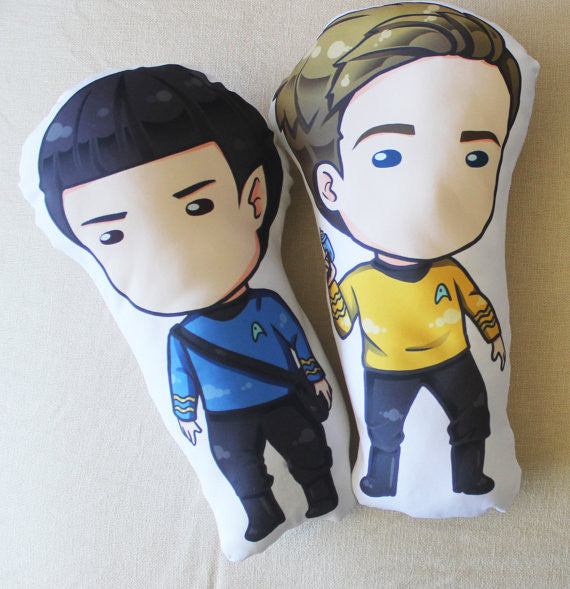 James Kirk & Mr. Spock Chibi Figure Fan pillow 14""
