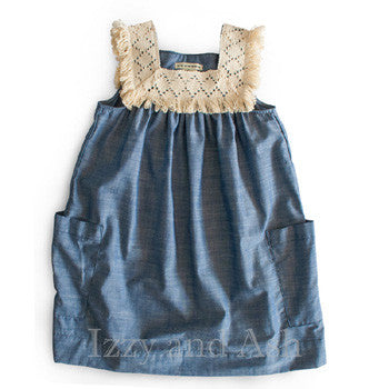 Anthem of the Ants Girls Chambray Indigo Dress|Anthem of the Ants|Anthem of the Ants Spring 2017|Chambray|Chambray Dress|Denim Dress|Jean Dress|Designer Girls Dresses|Toddler Dresses|Easter Dress|Easter Dresses|Designer Children's Clothing