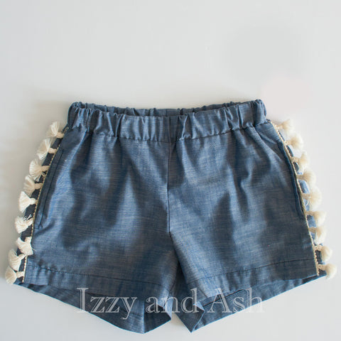 Anthem of the Ants Girls Fiesta Fringe Shorts|Anthem of the Ants|Anthem of the Ants Spring 2017|Girls Shorts|Fringe Shorts|Jean Fringe Shorts|Designer Girls Clothing|Designer Children's Clothes|Tween Fringe Shorts|Tween Clothing|Tween Shorts|Toddler Shorts|Toddler Girls Shorts|