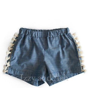 Anthem of the Ants Girls Fiesta Fringe Shorts|Anthem of the Ants|Anthem of the Ants Spring 2017|Girls Denim Shorts|Tween Jean Shorts|Toddler Jean Shorts|Chambray Fringe Shorts|Tassel Shorts|Fringe Shorts|Girls Bottoms|Children Shorts