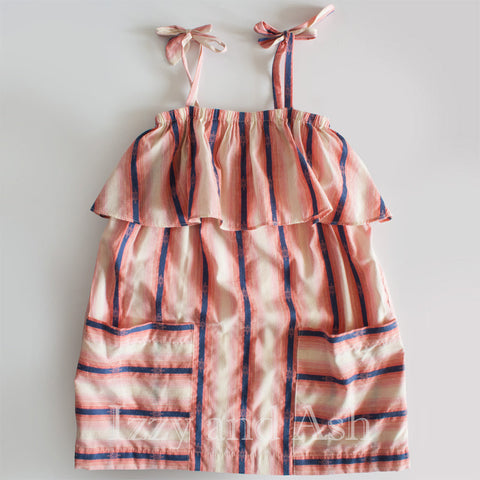 Anthem of the Ants Girls Stripe Ruffle Dress|Anthem of the Ants|Anthem of the Ants Spring 2017|Girls Dresses|Girls Stripe Dresses|Toddler Girls Dresses|Pink Stripe Dress|Girls Spring Dress|Girls Summer Dress|Girls Ruffle Dress|Designer Girls Clothing|Designer Children's Clothes|Fashionable Children's Clothing