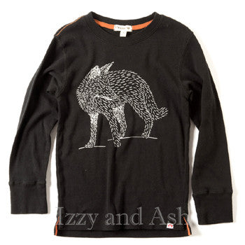 Appaman|Appaman Fall 2017|Izzy and Ash|Black Fox Shirt|Designer Boys Clothing|Designer Children's Clothes|Toddler Boys Shirts|Toddler Clothing|Trendy Boys Clothes|Fashionable Boys Shirts|Unique Boys Shirts|Boys Graphic Shirts|Fox Shirt|Fox Long Sleeve Shirt|Appaman Fox Long Sleeve Shirt|Appaman Graphic T-Shirts|Boys T-Shirts|Toddler Boys T-Shirts|Unique Boys T-Shirts|Cute Boys Shirts
