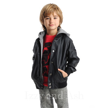 Appaman Boys Hooded Black Pleather Jacket|Boys Leather Jacket|Black Hooded Jacket|Designer Boys Outerwear|Appaman Outerwear