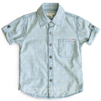 Appaman Boys Blue Chambray Printed Button Down Shirt|Appaman Shirts|Appaman Boys Shirts|Boys Chambray Shirt