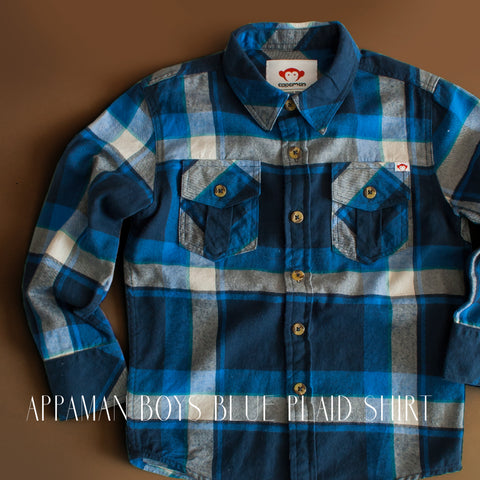 Appaman Boys Blue Plaid Button Down Shirt|Appaman|Holiday Gift Guide for Kids|Designer Childrens Clothing|Kids Clothes|Trendy Kids Clothes|Boys Clothes|Plaid|Boys Dressy Shirts