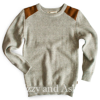 Appaman Boys Grey Suede Epaulet Sweater|Appaman|Appaman Fall 2016|Designer Boys Clothing|Designer Toddler Clothes|Boys Clothes|Sweaters|Toddler Sweaters