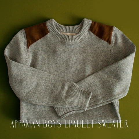 Appaman Boys Suede Epaulet Sweater|Appaman|Appaman Boys Clothing|Appaman Clothes|Appaman Clothing|Designer Boys Clothes|Designer Children's Clothes|Designer Kids Clothes|Trendy Boys Sweaters|Gray Sweaters|Grey Sweaters