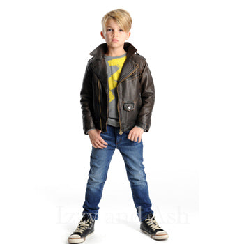Appaman Boys Chocolate Moto Jacket|Appaman Boys Lightning Bolt Tee|Appaman Boys Slim Leg Denim|Appaman Fall 2016|Appaman