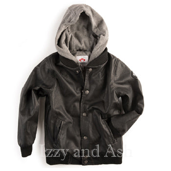 Appaman Boys Black Hooded Pleather Jacket|Appaman Outerwear|Appaman Jacket|Boys Designer Jacket|Designer Kids Leather Jacket