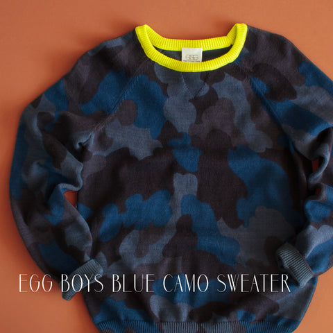 Egg Boys Blue Camo Sweater|Egg Baby|Egg by Susan Lazar|Egg Children's Clothing|Egg Kid's Clothes|Blue Camo Sweater|Boys Camo Sweater|Toddler Boys Sweaters|Designer Children's Clothing