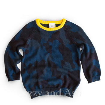 Egg Boys Blue Camo Sweater|Egg|Egg Fall 2016|Boys Camo Sweater|Children's Camo