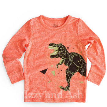Egg Boys Orange Dinosaur Top|Egg Fall 2017|Egg Children's Clothes|Egg Baby|Children T-Shirts|Kids T-Shirts|Boys T-Shirt|Boys Dinosaur T-Shirt|Boys Dinosaur Shirt|Boys Orange Shirt|Boys Glow In The Dark Shirt|Toddler Boys T-Shirts|Toddler T-Shirts
