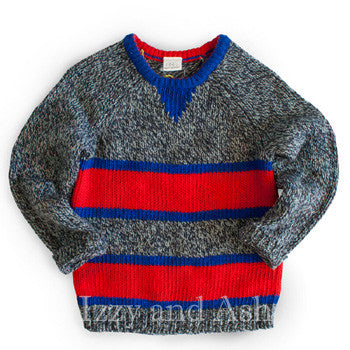 Egg Boys Evan Sweater|Egg Children's Clothing|Boys Sweaters|Toddler Sweaters|Baby Sweaters|Baby Clothing|Baby Boys Clothes|Toddler Boys Clothing|Boys Clothes|Designer Children's Clothing Boutique|Designer Toddler Clothes|Unique Baby Clothes|Trendy Children's Clothes|Cute Baby Clothes|Red Stripe Sweater|Red and Blue Sweater|Red and Blue Stripe Sweater|Fall Sweater|European Children's Clothing