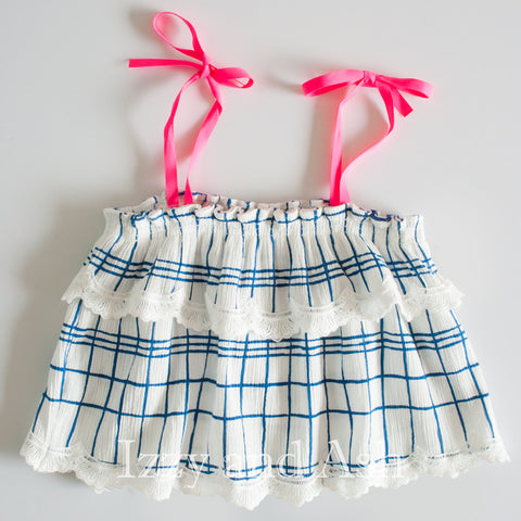 Egg Girls Ruffle Tie Top|Egg Spring 2017|Egg Children's Clothes|Girls Tops|Designer Children's Clothes|Tween Clothing|Toddler Clothes|Toddler Girls Clothes|Designer Girls Clothes|Girls Ruffle Top|Girls Blouses|Toddler Blouses|Girls Summer Tops|Girls Plaid Top|Toddler Plaid Top|Girls Checkered Tops