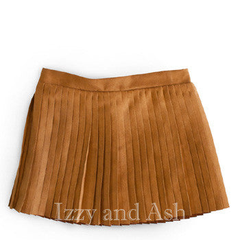 Egg Girls Faux Suede Pleated Skirt|Egg Fall 2017|Girls Skirts|Toddler Skirts|Toddler Girls Skirts|Girls Suede Skirts|Tween Skirts|Tween Suede Skirts|Girls Pleated Skirt|Toddler Pleated Skirt|Brown Skirt|Brown Pleated Skirt|Vintage Skirt|Accordion Skirt|Trendy Children Skirts|Kids Skirts|Designer Children's Clothing Boutique
