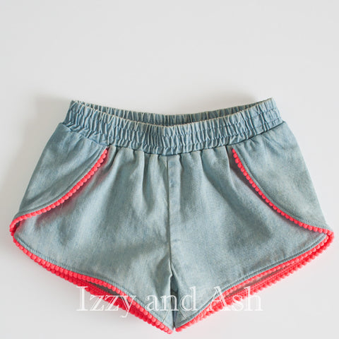 Egg Girls Denim Valerie Shorts|Egg Spring 2017|Egg|Egg Children's Clothes|Girls Denim Shorts|Toddler Jean Shorts|Girls Jean Shorts|Girls Pompom Shorts|Baby Jeans|Baby Girls Jean Shorts|Children Jean Shorts|Kids Jean Shorts|Children Chambray Shorts