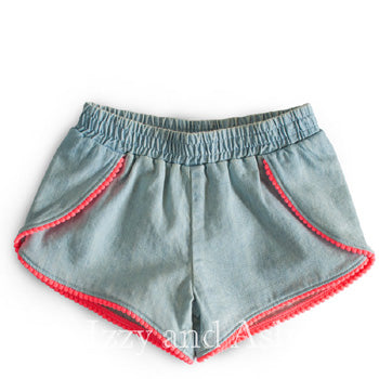 Egg Girls Denim Valerie Short|Egg|Egg Spring 2017|Egg Valerie Short|Girls Denim Shorts|Denim|Jeans|Girls Jeans|Girls Jean Short|Toddler Jean Shorts|Tween Jean Short|Tween Denim Short|Toddler Denim Shorts|Pompom Short|Infant Shorts|Infant Girls Shorts|Baby Girls Shorts|Baby Jean Shorts