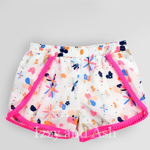 Egg Girls Floral Valerie Shorts|Egg Spring 2017|Egg|Egg Children's Clothes|Egg by Susan Lazar|Egg Girls Clothes|Girls Shorts|Girls Floral Shorts|Toddler Girls Shorts|Tween Floral Shorts|Flower Shorts|Pompom Shorts|Girls Pink Floral Shorts|Toddler Girls Pink Shorts|Tween Pink Shorts|Baby Girls Shorts