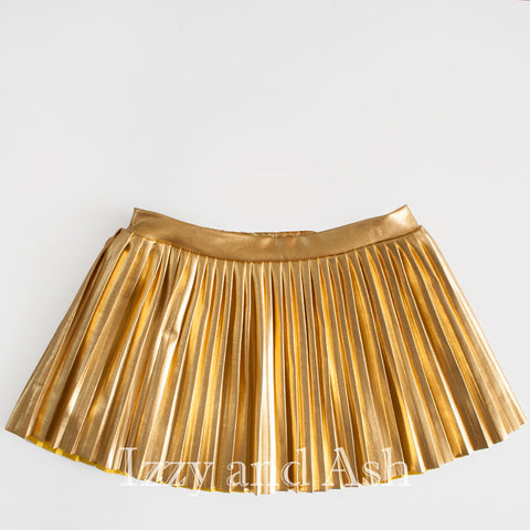 Egg Girls Gold Lame Skirt|Girls Pleated Skirt|Egg Spring 2017|Tween Pleated Skirt|Toddler Pleated Skirt|Designer Children's Clothes|Lame Gold Skirt|Girls Skirts|Toddler Skirts|Tween Skirts|Trendy Children's Clothes|Designer Children's Clothes|Girls Bottoms