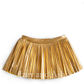 Egg Girls Gold Lame Skirt|Egg|Egg Spring 2017|Egg Baby|Egg by Susan Lazar|Egg Children's Clothes|Egg Kids Clothes|Gold Lame Skirt|Gold Pleated Skirt|Toddler Pleated Skirt|Toddler Gold Skirt|Tween Gold Skirt|Tween Pleated Skirt|Tween Skirts|Toddler Skirts|Designer Tween Clothing|Designer Toddler Girls Clothes|Toddler Clothing|Toddler Girls Clothes