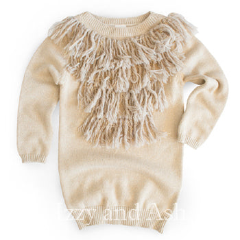 Egg|Egg Girls Fringe Amber Dress|Egg Baby|Designer Girls Clothes|Designer Children's Clothes|Girls Fringe Dresses|Children Fringe Dresses|Baby Dresses|Baby Girls Dresses|Newborn Dresses|Tween Dresses|Toddler Girls Dresses|Girls Sweater Dresses|Children Fall Dresses|Kids Fall Dresses