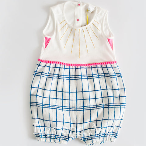 Egg Infant Girls Mixed Textile Romper|Egg|Egg Spring 2017|Egg Children's Clothing|Girls Playsuits|Baby Girls Playsuits|Onesies|Layettes|Girls Layettes|Girls Onesies|Checkered Onesies|Checkered Layette|Plaid Onesie|Plaid Layette|Blue Onesie|Blue Layette