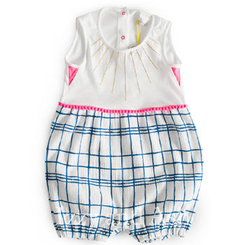 Egg Infant Girls Mixed Textile Romper|Egg|Egg Spring 2017|Egg Baby|Girls Rompers|Onesies|Plaid Onesie|Checkered Onesie|Infant Clothes|Baby Clothing|Baby Clothes|Infant Girls Clothing|Infant Girls Clothes|Trendy Baby Clothes|Babies Clothing