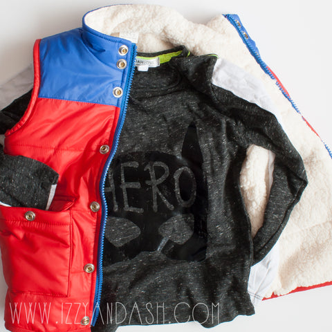 Joah Love|Joah Love Hero Shirt|Joah Love Fall 2017|Joah Love Hero T-Shirt|Egg|Egg Fall 2017|Egg by Susan Lazar|Egg Boys Vests|Egg Children's Clothes|Egg Kids Clothes|Boys Outerwear|Boys Puffer Vests|Children Outerwear|Children Puffer Vests