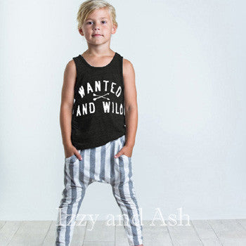 Joah Love Gender Neutral Wanted and Wild Tank|Joah Love Boys Stripe Emilio Pant|Joah Love|Joah Love Spring 2017|Gender Neutral Children's Clothing|Unisex Children's Clothing|Gender Neutral Kids Clothes|Unisex Kids Clothes|Designer Children's Clothing|Designer Kids Clothes